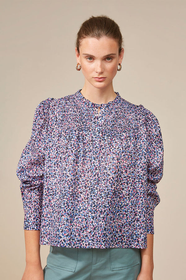 Suncoo Livana Print Blouse in Blue.