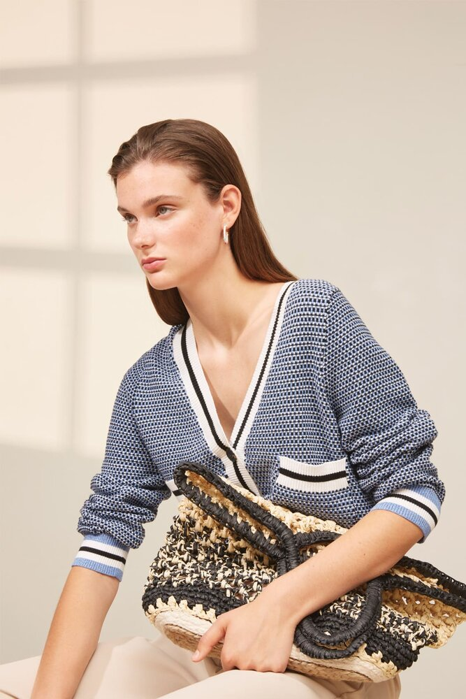 Suncoo Gaspard Cardigan in Navy