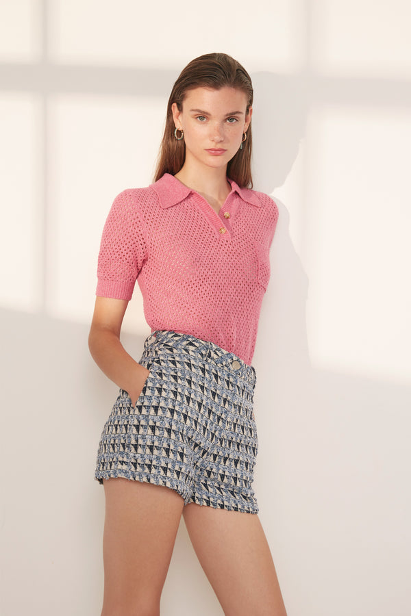 Suncoo Perigue Knitted Polo Top in Pink
