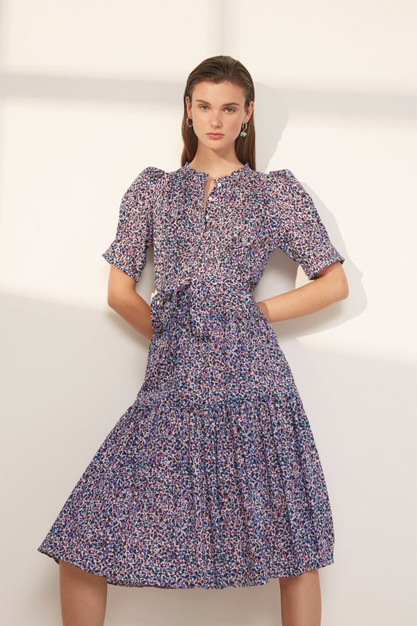 Suncoo Calix Print Dress in Blue.