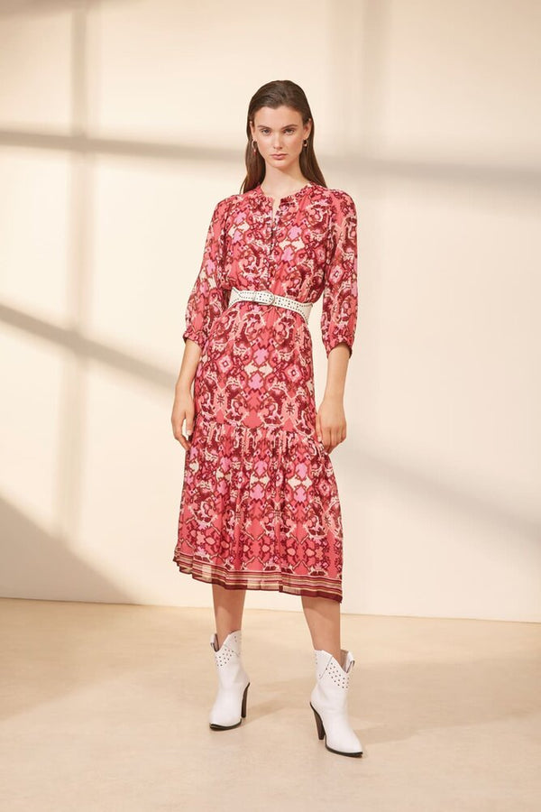 Suncoo Coleen Ikat Print Dress in Pink