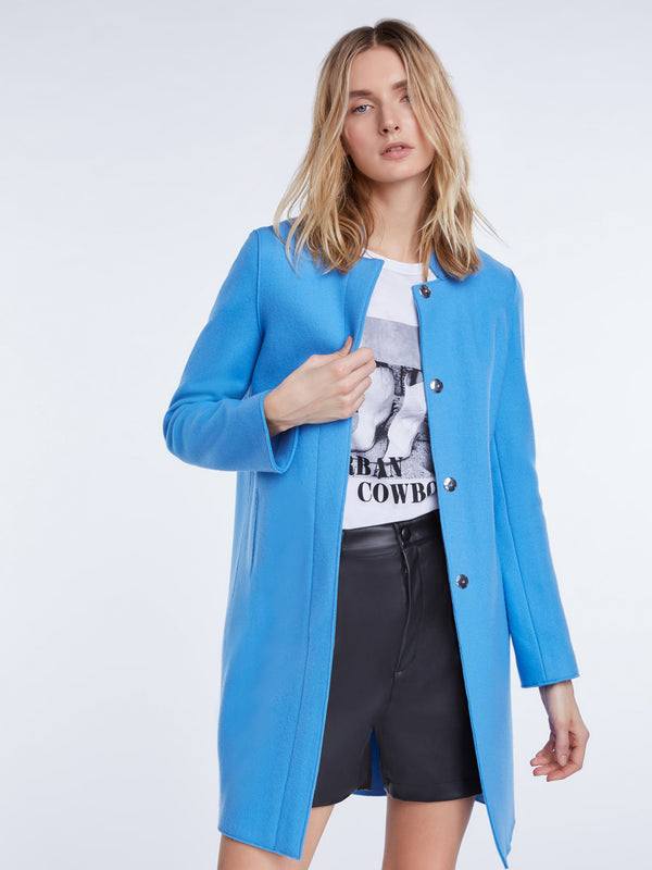 Set blue high collar tailored coat