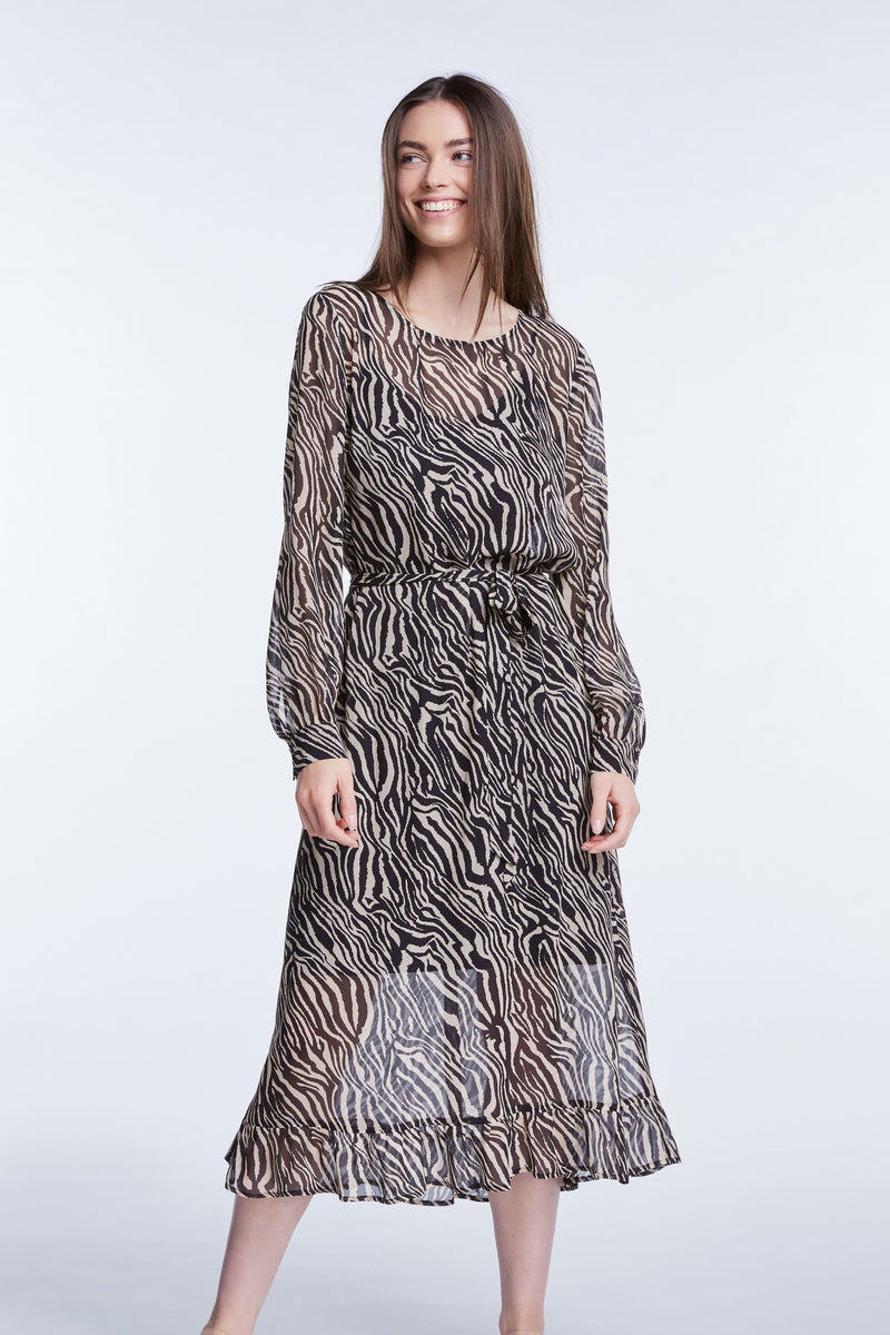 Set zebra print long sleeved sheer midi dress