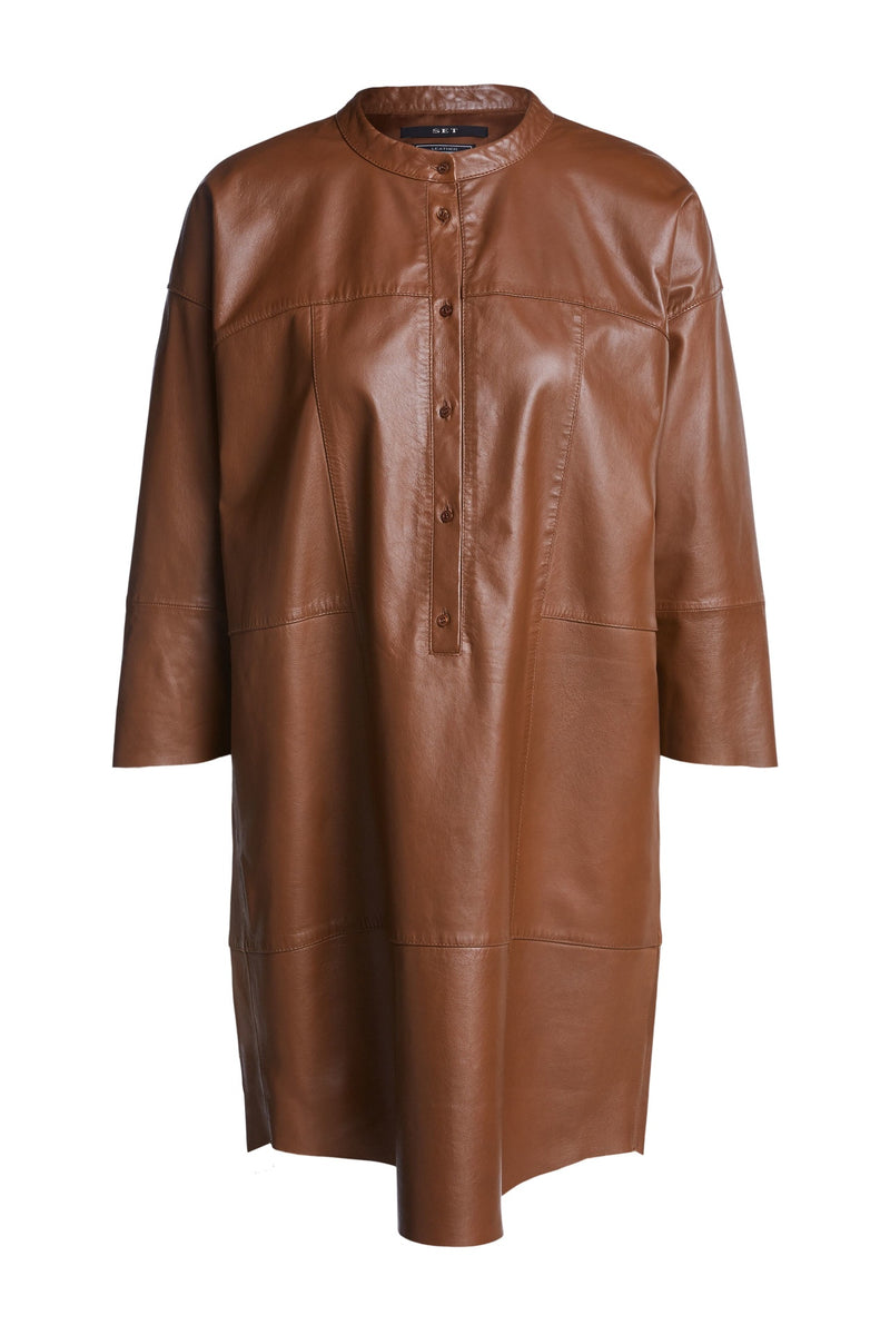 Set real leather brown tunic dress