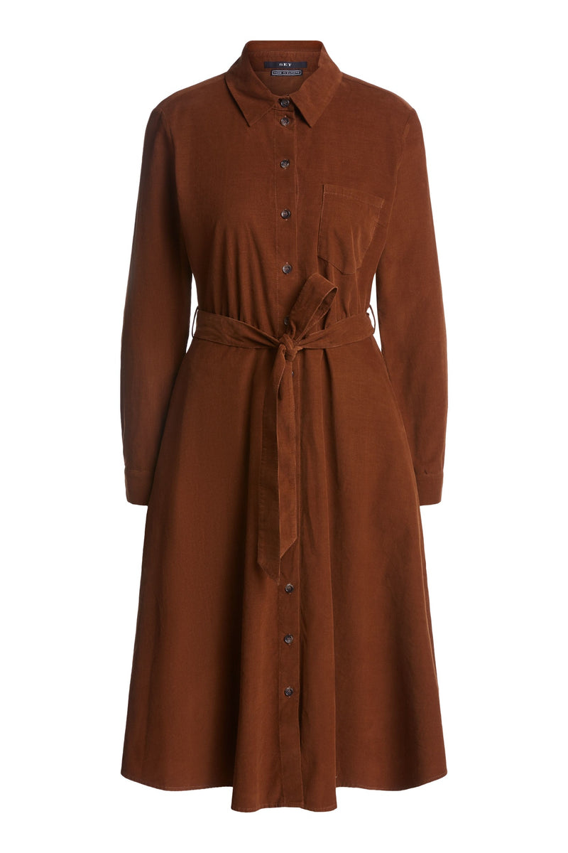 Set corduroy midi length long sleeved button down dress