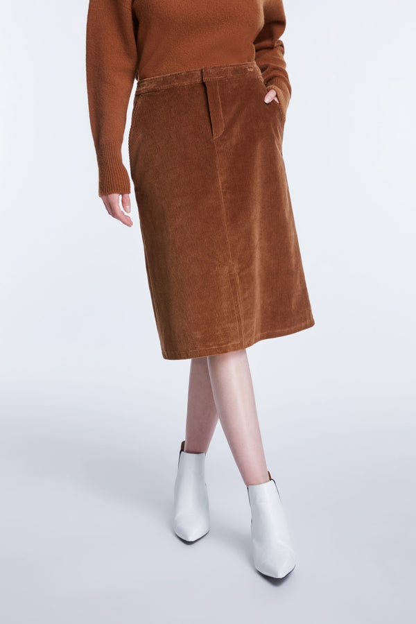 Set corduroy knee length skirt