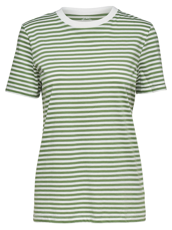SLFMyperfect Tee Green Striped Cotton T-Shirt