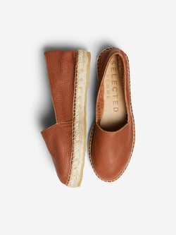 SLFMarie Tan Leather Espadrille shoe
