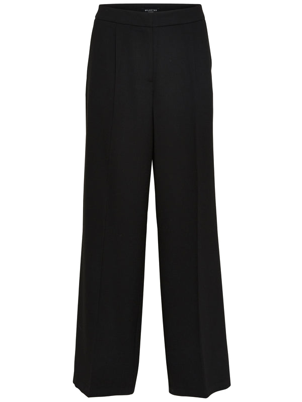 SLFTinni wide leg trouser in black by Selected Femme