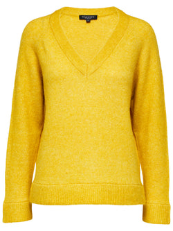 SLFLanna long sleeved V-neck knit sweater in lemon yellow by Selected Femme.