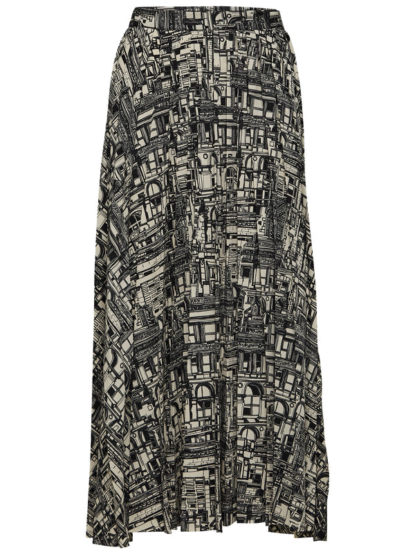 SLFIrma building print pleated midi skirt