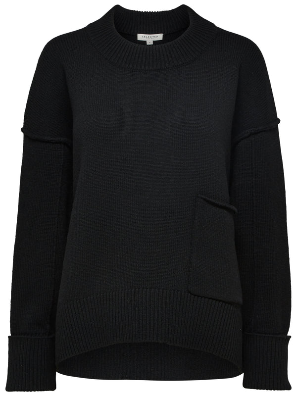 SLFCaroline long sleeved crew neck knit in black by Selected Femme