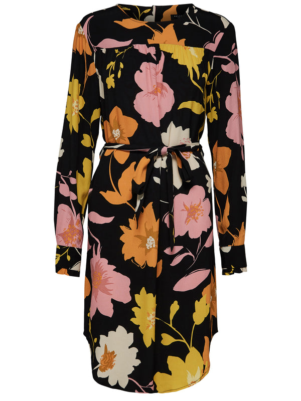 SLFCadence-Dynella long sleeved floral print shift dress by Selected Femme