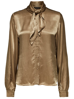SLFDakota neck tie button down gold blouse with long sleeves by Selected Femme
