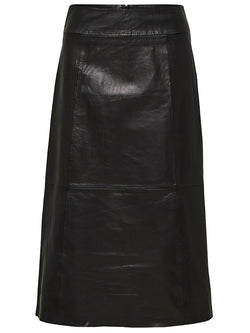 Selected Femme SLFArdee high waisted midi leather skirt