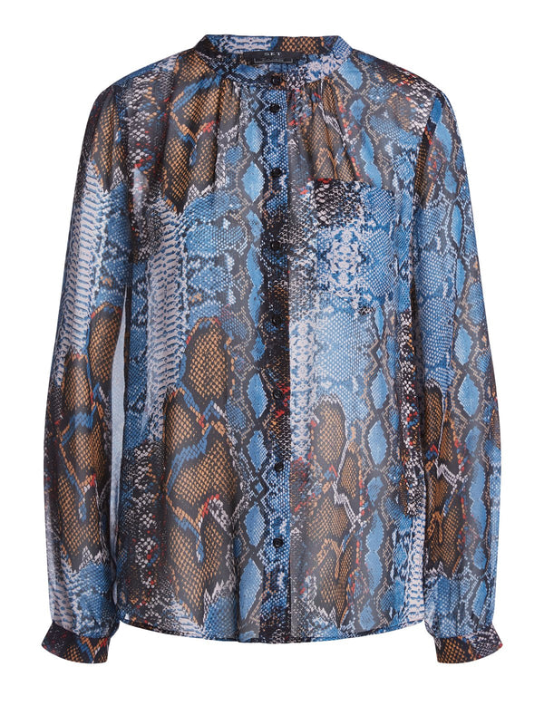 Set high neck button down snake print blouse with long sleeves