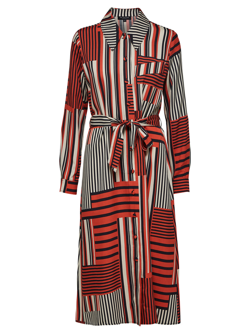 SLFMyla Florenta striped midi shirtdress with waist tie by Selected Femme