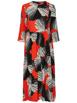 SLFKiari Red and Black Floral Print Midi Dress