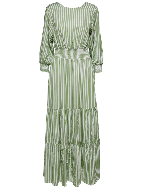 SLFViolet striped maxi dress in cream and sage green with silver metallic stripe detail by Selected Femme