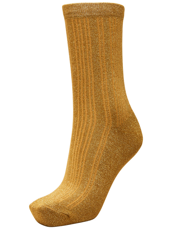 SLFLana Bronze Lurex Sparkly Ribbed Sock