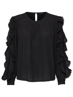 Selected Femme SLFJenny Ruffled Cotton Top in Black