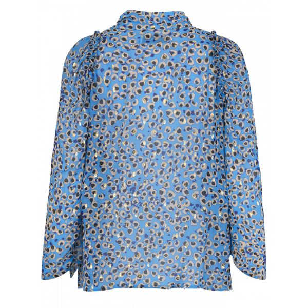 Munthe Jadyn mini leo print pussy bow blouse with glittery lurex details