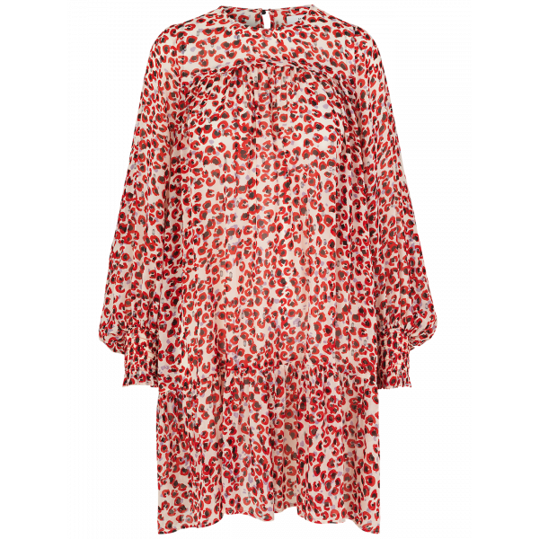 Joelle mini leopard print drop hem smock dress with glittery lurex details