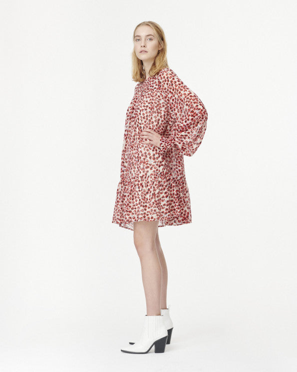Joelle Mini Leopard Print Smock Dress