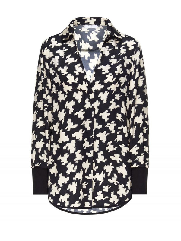 Beatrice B collared V-neck printed shirt in silk blend