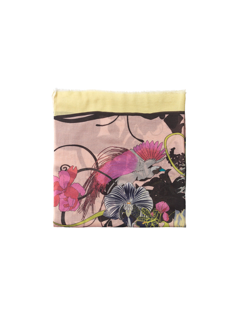 Becksondergaard Ganet Como modal and cotton blend floral print scarf featuring birds and dragonflys