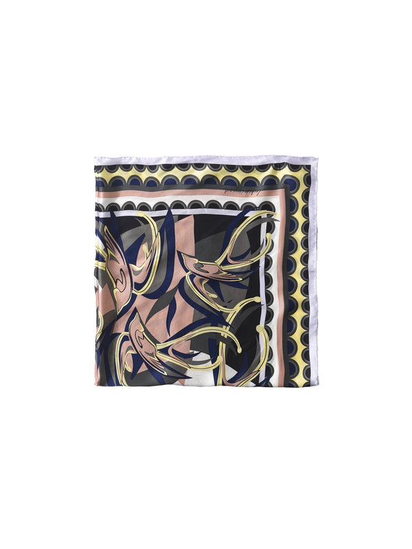 Becksondergaard Sparry Sia silk square scarf in abstract swirly print