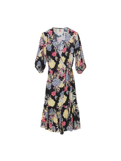 Tody Noral floral print wrap midi dress with cropped sleeve.