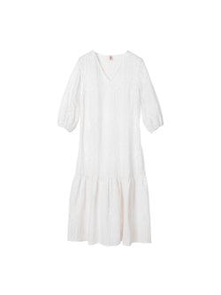 Becksondergaard Brodierie Anglaise Cecilie midi dress with cropped blouson style sleeve and drop hem
