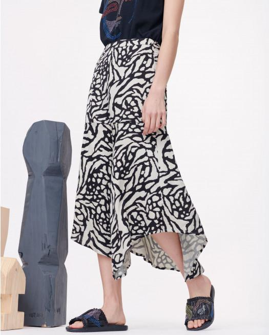 Munthe Everly monochrome printed silky midi length skirt with asymmetric hem.