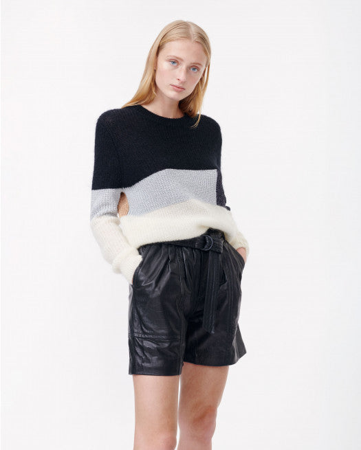 Munthe Emil colour block crew neck neck knitted sweater.