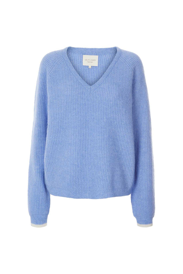 Lollys Laundry Aliza Vee Neck sweater in blue