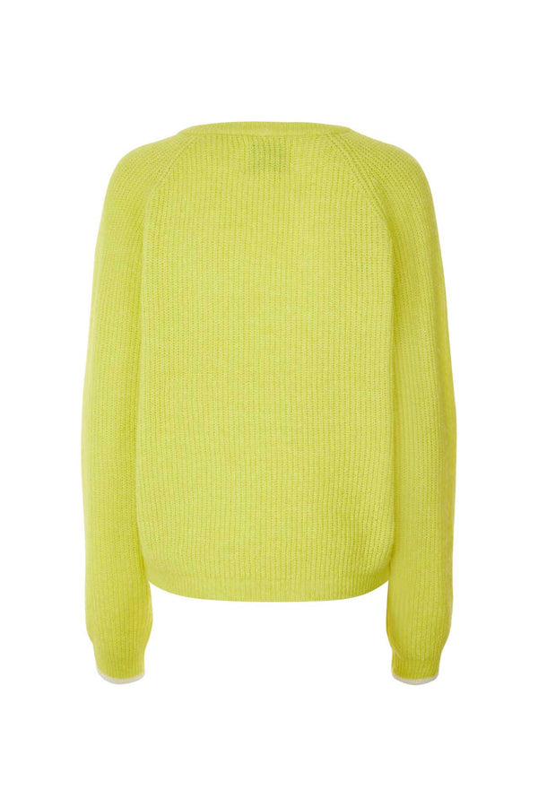 Aliza Ribbed Neon Yellow V Neck Sweater Lollys Laundry