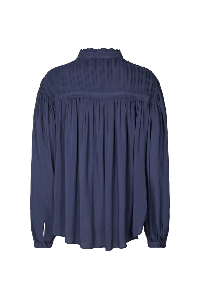 Cara Dark Blue Pleated Blouse Lollys Laundry