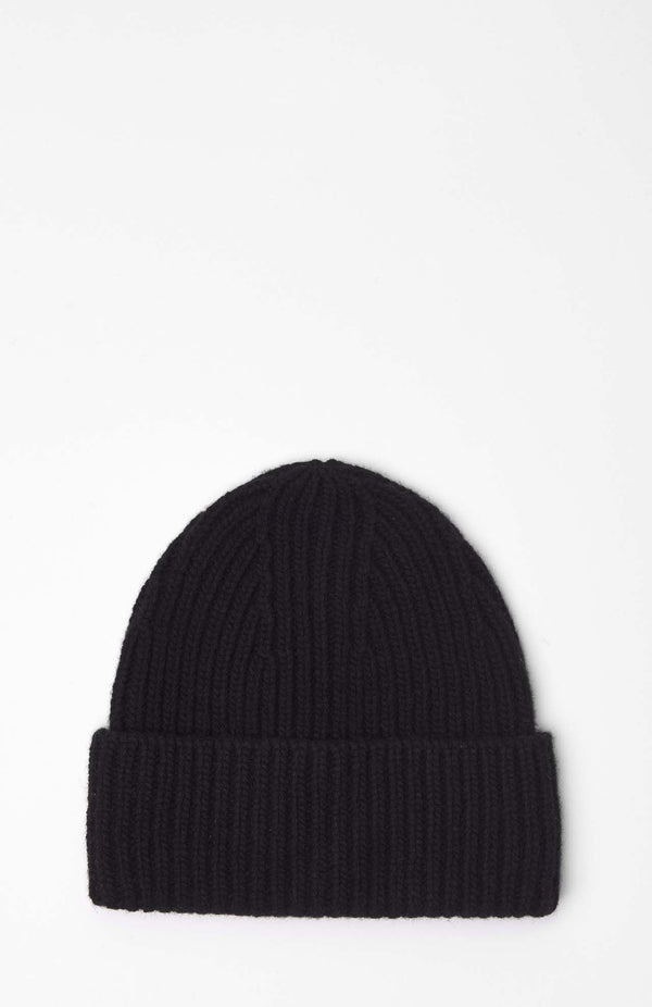 Loreak Burua heavy wool ribbed beanie had in black