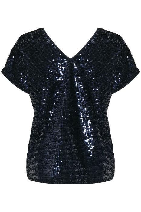 Part Two Venus sequin short sleeved V-neck top