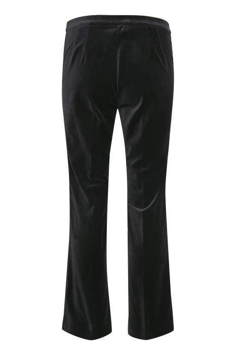 Part Two Petros cropped black velvet trousers with kick flare
