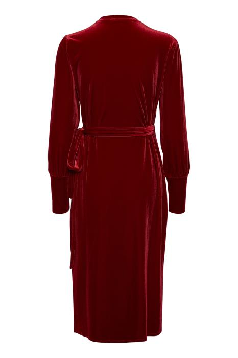 Part Two velvet Vanilla long sleeved red V-neck wrap dress