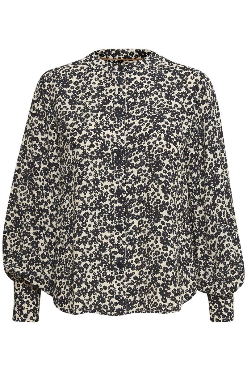 Part Two Barbette floral print button front blouse with blouson style sleeves