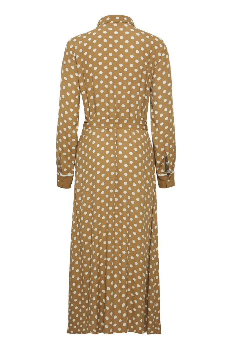 Part Two Bina button down collared midi shirt dress with long sleeves in polka dot print