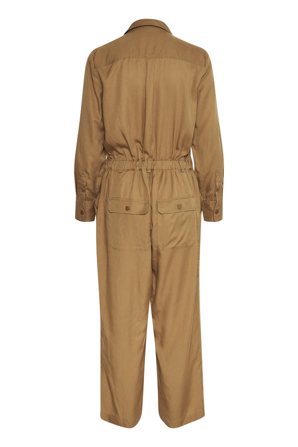 Part Two Bati long sleeved button down collared utility style jumpsuit with cropped leg