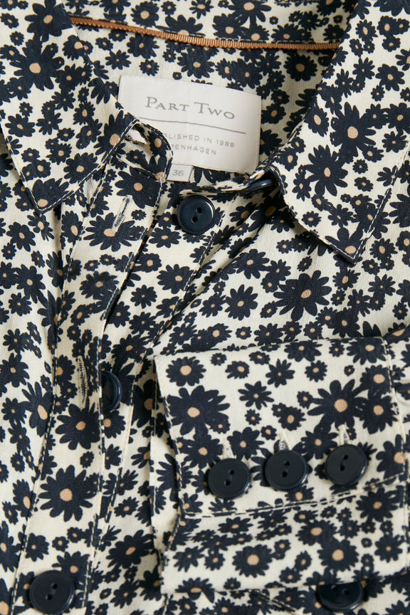 Part Two Truee floral print fitted shirt dress