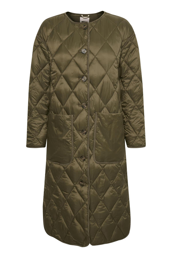Part Two Eleonora Padded Quilted Coat in Khaki