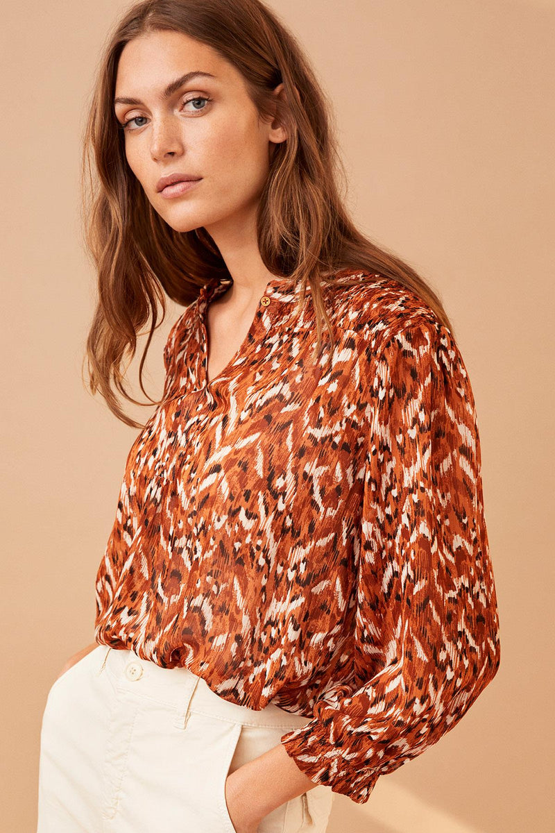 Part Two Dide Texture Print Blouse