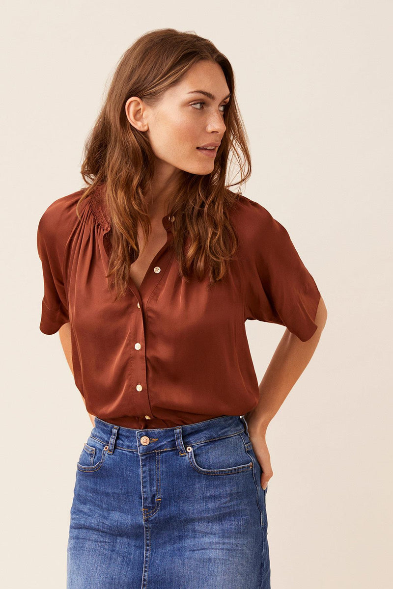Part two Doria Chocolate Cotton Blouse