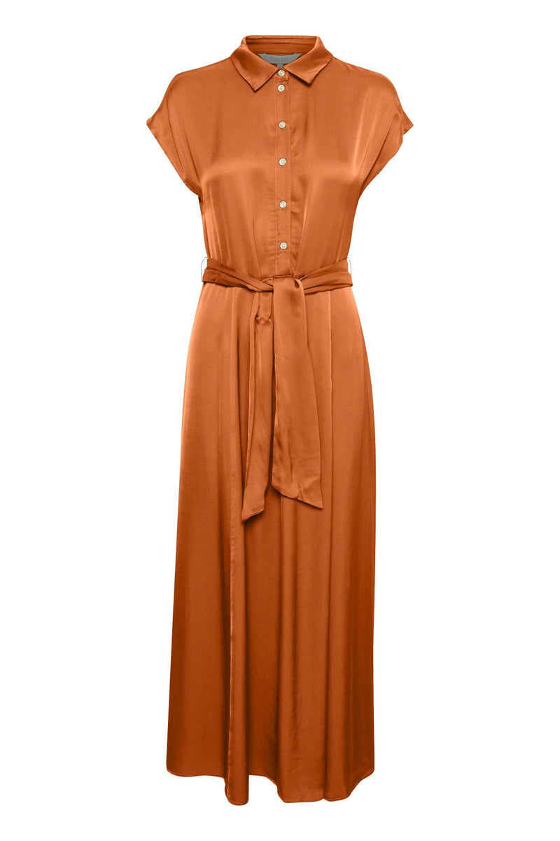 Part Two Dita Chocolate Sateen Shirtdress